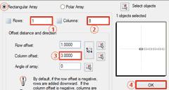 Autocad array settings - pixel led creation