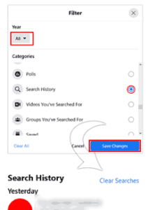 Clearing Search History in Facebook