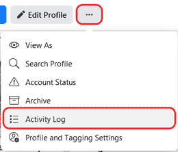 activity log link in new Facebook layout