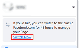 switch Now Facebook button