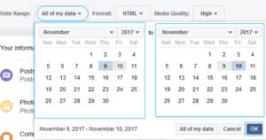 selecting date range for Facebook backup file