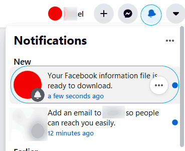 Facebook Download nortification