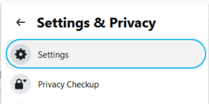 How go to the beginning of Facebook conversation - Facebook top right settings & Privacy menu