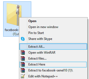 search messages by date - Extract Facebook file