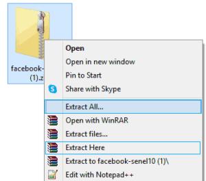 Downloaded facebook information zip file
