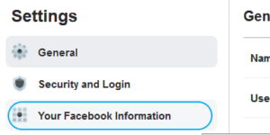 search messages by date - Facebook Settings page