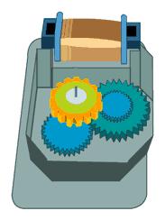 Defrost timer inside gear wheels