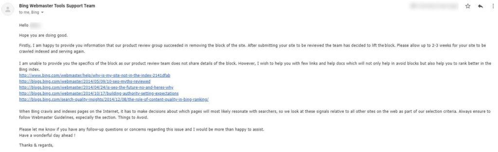 Bing De-index remove website - Bing webmaster support reinstate email