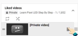 delete YouTube Liked Videos bin button
